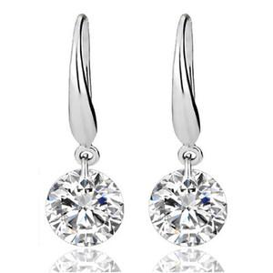 Gümüş Küpe Kadınlar için Taş Büyük Uzun Dangle Geometrik Damla Küpe Swarovski Kübik Zirkonya Bildirimi Kristal Küpe