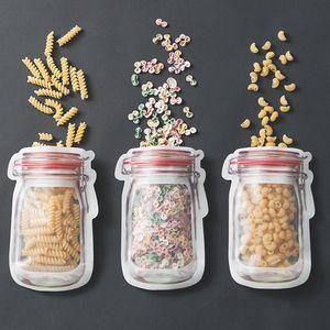300pcs / lot gros maçon en forme de sac de nourriture en plastique contenant des bouteilles en plastique maçon bouteille modélisant des fermetures à glissière de stockage des collations en plastique boîte LZ0706
