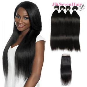 100% Unprocessed Brazilian Virgin Human Hair Extension 4 Bundles With 4x4Inch Lace Closure 12A Top Grade Straight Malaysian Peruvian Weave Wefts For Sale