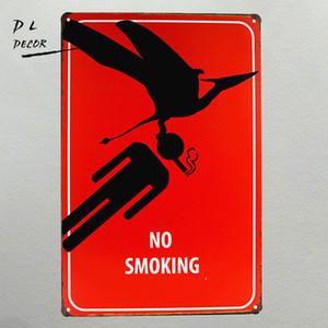 DL-Wholesale No Smoking слоган Металлическая поделка для стен Art Home Cafe Старинные картины из железа / металла