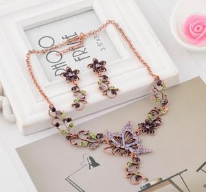 Hot Europe Fashion Jewelry Sets Vintage mariposa colgante Rhinestone flores elegante collar pendientes