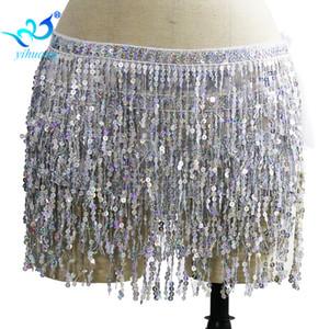 Danse du ventre Hip Écharpe Danse du ventre Costume Ceinture Paillettes Franges Wrap Jupe Wrap Tops Party Performance Tenues Mousseline de soie