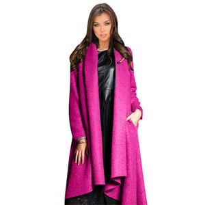 Hodisytian Hiver Mode Femmes Trench-Coat Casual Cardigan Lâche Épais Laine Mélange Solide Cachemire Manteau Rembourré Manteau Jacquard