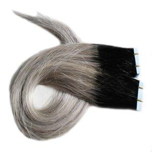1B Prata Cinza Ombre extensões de fita de trama da pele 100G Em Linha Reta cabelo cinza 40 Pieces fita PU em extensões de cabelo humano