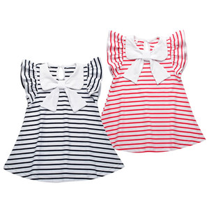 Baby Girl Striped Dress 2018 New Princess Bow Toddler Girls Dresses Summer Sleeveless Baby Kids Cotton Clothing