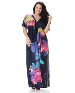 resort più il vestito della Boemia di modo Abiti sexy del V-Neck Beach Donne Flora un'elevata qualità di stampa abiti estate maxi con 2 colori XL-6XL