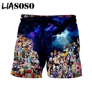 LIASOSO лето Новый Мужчины Женщины шорты 3D печати аниме коллекция пляж фитнес шорты симпатичные смешные случайные свободные хип-хоп ShortsA098-47