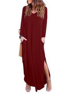 2018 otoño moda mujer explosiones con cuello en V suelta vestido dividido de manga larga falda larga bolsillos de costura de cintura suelta conjunto vestido de color sólido