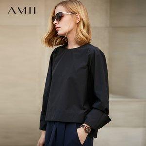 Amii Minimalist Women 2018 Spring Office Señora Blusa Solid Pullover O Cuello Blusas Femeninas Camisas