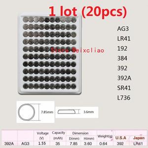 20 قطع 1 وحدة AG3 LR41 192 384 392 392A SR41 L736 1.55 فولت بطاريات زر خلية البطارية القلوية عملة صينية حزمة شحن مجاني