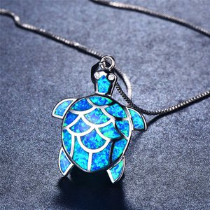 Bamos Long Chain Necklace 925 Sterling Silver Filled Animal Jewelry Blue Fire Opal Cute Turtle Pendant Necklace For Women Gifts