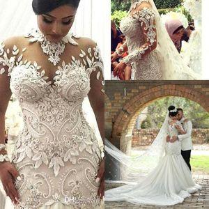 2018 Robes de mariée de luxe à manches longues Illusion Nigeria col haut Appliqued perlée Dubaï château arabe robes de mariée sirène BA7687