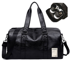 Pu Leather Gym Male Bag Top Female Sport Shoe Bag for Women Fitness Over the Shoulder Yoga Bag Travel Handbags Black Red