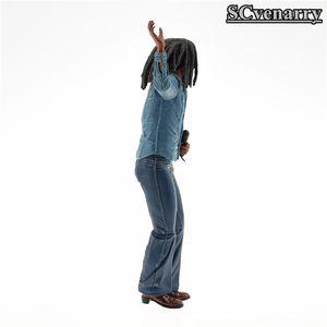 친환경 밥 말리 그림 음악 전설 자메이카 가수 마이크 합성 수지 액션 피겨 소장 모델 장난감 18cm