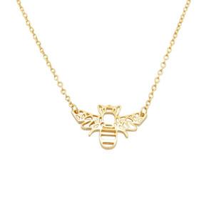Cute Animal Origami Rose Gold Silber Bee Anhänger Halskette Honey Bee Halskette Collier Collier Zubehör Insekt Schmuck Geschenke
