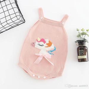 New Automne Infant Bonneterie Barboteuses Filles Licorne Knitwear Pull Jarretière Barboteuses Tout-petits enfants Climb Vêtements Cavaliers 4269