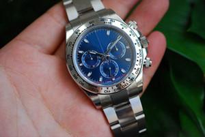 Heißer Verkauf Qualität Luxus Blue Dial 40 mm keine Cosmograph 116509 Edelstahl mechanische automatische Herrenmode Sportuhr Freies Geschenk bo