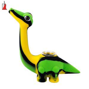 Nouveau dinosaure silicone Water Pipe Bong Incassable silicone Dab huile concentré Rig Fumer brûleur à mazout tuyau