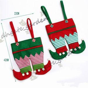 Нетканые ткани Рождество Эльф штаны запаша конфеты мешок Дети фонтанная партии украшение орнамент подарок
