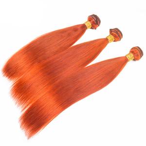 Prety Orange Couleur Cheveux Humains 3Bundles Non Transformés 100 Vierge 9A Soyeux Droite Orange Couleur 350 Cheveux Tisse Des Extensions 3pcs Pour Femme