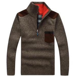 Pull d'homme épais chaud Pull en cachemire d'hiver Zipper Pulls en laine Homme Maille Casual Toison Vêtements velours Taille Big Hotsale