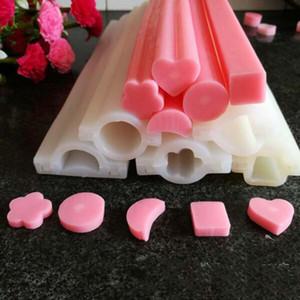 Uzun sabun silikon kalıplar tüp kalıp Silikon boru Kalıp el yapımı sabun için yıldız çiçek ay kalıpları