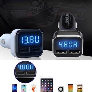 المزدوج USB شاحن سيارة 4.8A محول LED العرض شحن سريع للاي فون سامسونج شحن مجاني