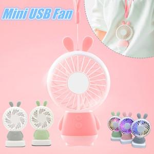 1 ADET Taşınabilir El USB Fan Mini Karikatür Tavşan / Ayı Aydınlık Renkli Seyahat Ofis Öğrenci Yurdu için Şarj Edilebilir Fan Çocuklar için Gi