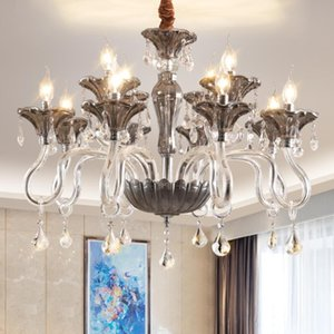 Avrupa tarzı LED kristal Avize ışıkları smoky gri cam damla ışıkları modern oturma odası yemek odası LED Avize ışıkları