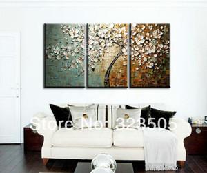 3 Stück leinwand wandkunst Moderne abstrakte wand panel texturiert weiß kirschblütenölgemälde set dekoration kostenloser versand