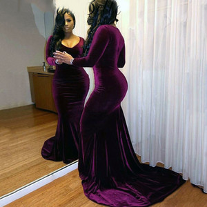 Plus Size Velvet Long Sleeves Purple Mermaid Prom Dress 2018 Sexy V-neck Black Girls Formal Prom Dresses Sweep Train Long Prom Party Gowns