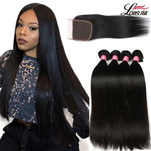 Charmingqueen Peruvian Virgin Straight Bundles de cheveux Raides péruviens non transformés avec fermeture 100% cheveux humains avec fermeture à lacets 4x4