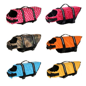 7 Tamanho Jacket Pet Life Saver Vest Swimming Dog Life Preserver cachorro estimação Surf Natação reflexiva listras roupa para cães
