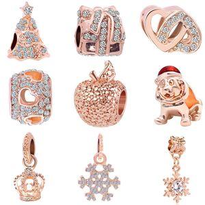 2018 neue versandkostenfrei weihnachtstag geschenk europäischen 1 stück rose gold baum schneeflocke apfel krone diy perle fit pandora charme armband d033