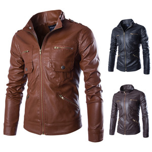 Mens Designer PU Leather Jacket Winter maschio tinta unita cappotto in ecopelle con cerniere taglia asiatica M-5XL