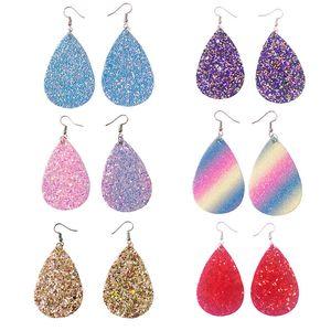 Paillettes orecchini in pelle PU teardrop Guardando vari multi colori Boemia Water Drop Earring