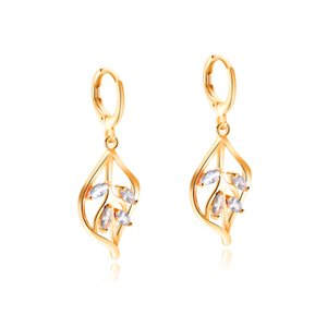 18KGP Gold Plated Hollow Leaf Design Inlay Marquis Cubic Zirconia Dangle Drop Earrings