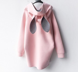 New Autumn Winter Pregnant Women Dress Rabbit Ears Hooded Sweater Casual Pregnant Loose Maternity Dresses Plus Size
