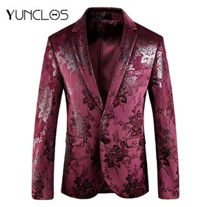YUNCLOS 2018 Flower Bronzing Men Blazer For Wedding Slim Fit Male Suit Jackets High Quality Blazer Jackets Coats americana hombr