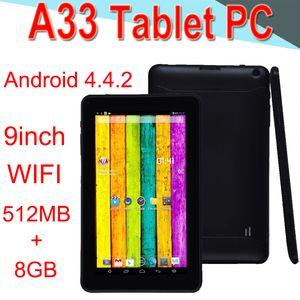 A33 9inch Tablet PC Capacitance Quad Core Android-4.4 Dual Camera 8GB RAM 512MB ROM WIFI Bluetooth 3G EPAD Facebook Google XCTA33-PB