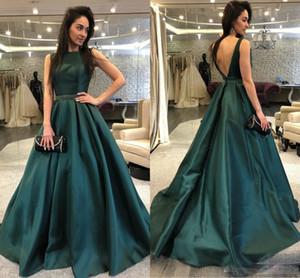 Сексуальный темно-зеленый длинные платья выпускного вечера спинки створки бисером длина пола вечерние носит на заказ