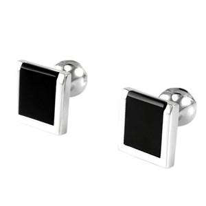 SAVOYSHI Low-key Luxury Black Stone Botones para hombre con accesorios de caja Camisa francesa Cuff Bottons CuffLinks Cuadrados regalo para hombre