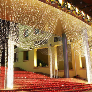 4.5 м x 3 м 300 из светодиодов дома открытый праздник Рождество декоративные свадьба Рождество строка Фея занавеса гирлянды полосы ну огни