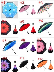 2018 Creative Inverted Umbrellas Double Layer mit C-Griff Inside Out Reverse Windproof Umbrella 20 Farben