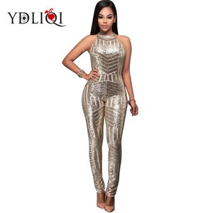 Runway halter jumpsuit 2018 Women Sexy Bodycon largo Jumpsuit Clubwear Celebrity Party silver Sequined a rayas skinny Jumpsuit