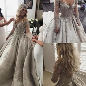 2020 Luxo mangas compridas Lace Applique de cristal frisada vestidos de casamento Jewel Wedding Vintage Vestido Custom Made A linha de vestidos de noiva Plus Size