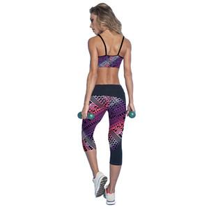 2017 Pantalones de secado rápido pantalones deportivos de yoga impresos recortados mujeres leggings deportivos pantalones de yoga fitness populares