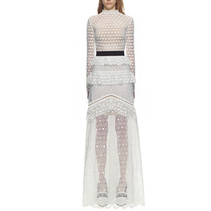 Self Portrait Long Maxi Dress Designer di alta qualità 2018 Autumn Women See Through Lace Abiti da sera abiti da festa