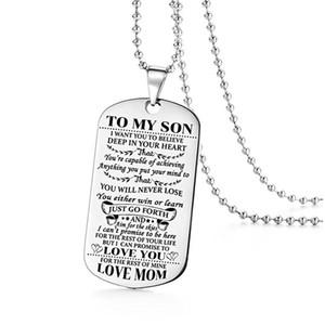 Collar de acero inoxidable Madre hijo colgante de joyería para hombre Quiero que creas Love Mom DogTag