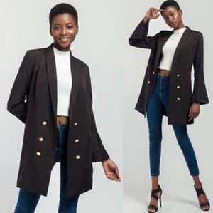 Осень Новый Женский Пиджаки Офис Леди Формальные Тонкий Расклешенный Рукав Простое Пальто Женская Мода Повседневная Черный Элегантный Опрятный Стиль Пальто